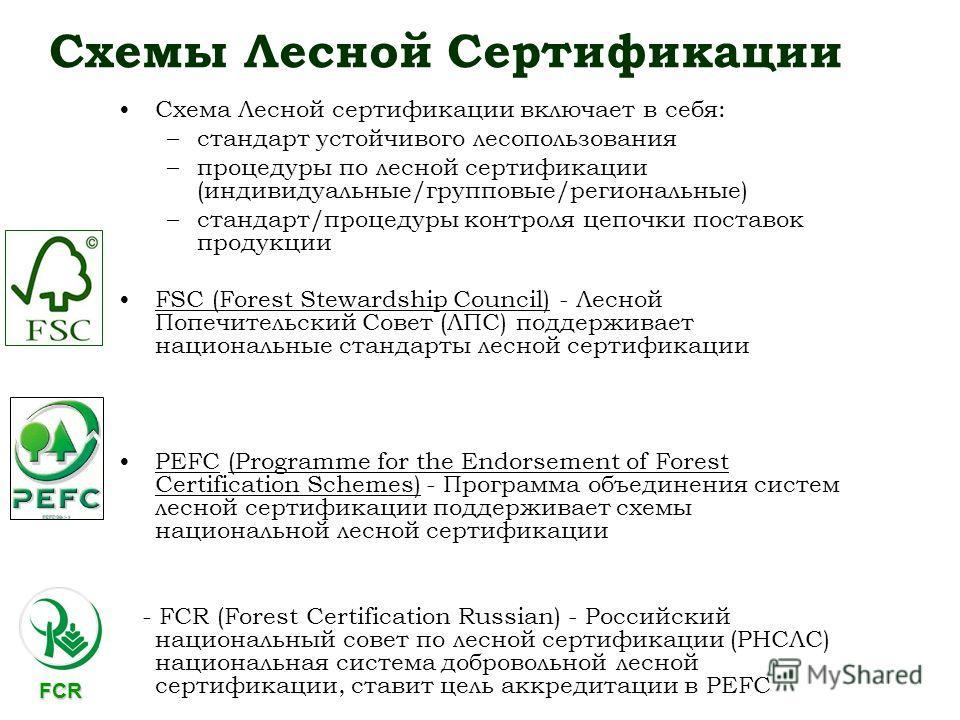 Схемы Лесной Сертификации Схема Лесной сертификации включает в себя: –стандарт устойчивого лесопользования –процедуры по лесной сертификации (индивидуальные/групповые/региональные) –стандарт/процедуры контроля цепочки поставок продукции FSC (Forest S