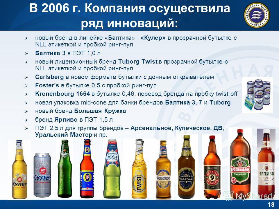18 В 2006 г. Компания осуществила ряд инноваций: новый бренд в линейке «Балтика» - «Кулер» в прозрачной бутылке с NLL этикеткой и пробкой ринг-пул Балтика 3 в ПЭТ 1,0 л новый лицензионный бренд Tuborg Twist в прозрачной бутылке с NLL этикеткой и проб