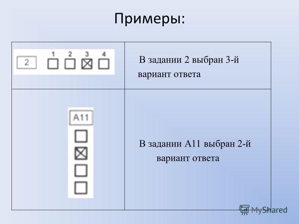 Примеры: В задании 2 выбран 3-й вариант ответа В задании А11 выбран 2-й вариант ответа