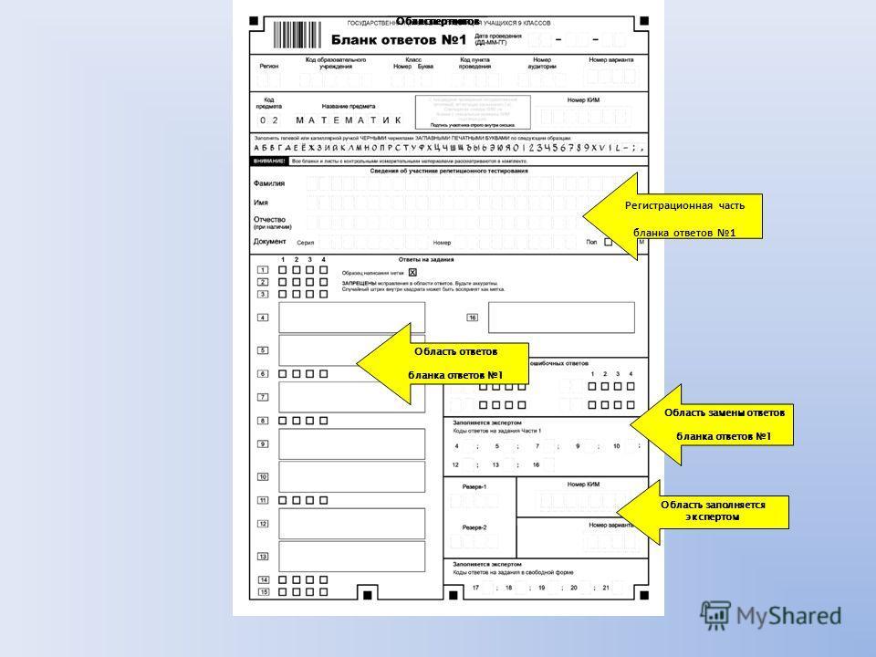 Регистрационная часть бланка ответов 1 Область ответов бланка ответов 1 Область замены ответов бланка ответов 1 экспертом Область заполняется экспертом