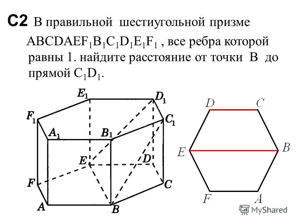 С2 В правильной шестиугольной призме ABCDAEF 1 B 1 C 1 D 1 E 1 F 1, все ребра которой равны 1. найдите расстояние от точки В до прямой C 1 D 1.