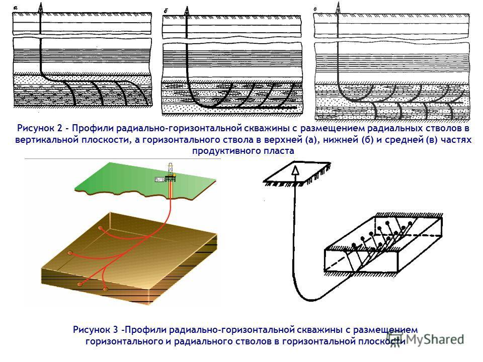 Рисунок 2 - Профили радиально-горизонтальной скважины с размещением радиальных стволов в вертикальной плоскости, а горизонтального ствола в верхней (а), нижней (б) и средней (в) частях продуктивного пласта Рисунок 3 -Профили радиально-горизонтальной