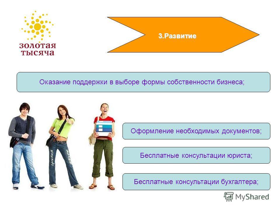 3.Развитие Оказание поддержки в выборе формы собственности бизнеса; Бесплатные консультации юриста; Бесплатные консультации бухгалтера; Оформление необходимых документов;