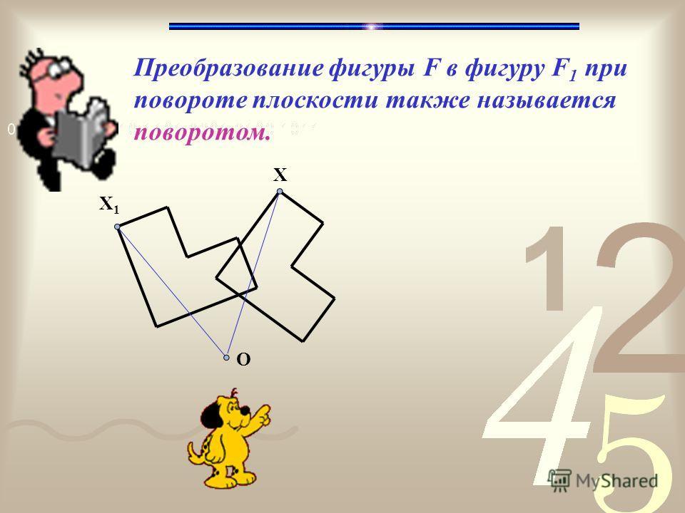 Преобразование фигуры F в фигуру F 1 при повороте плоскости также называется поворотом. X X1X1 О