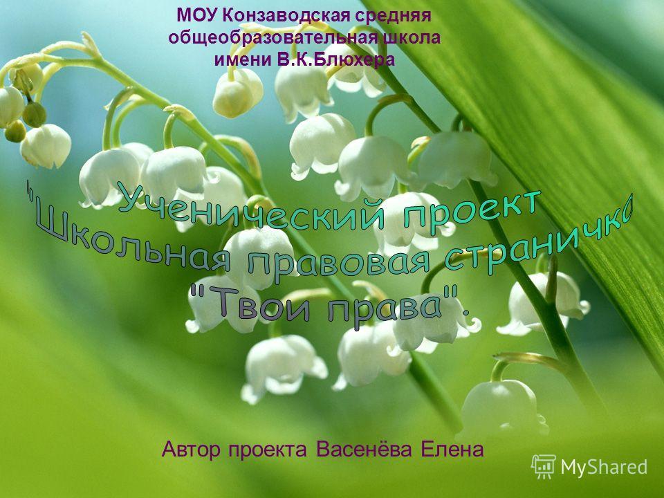 Автор проекта Васенёва Елена МОУ Конзаводская средняя общеобразовательная школа имени В.К.Блюхера
