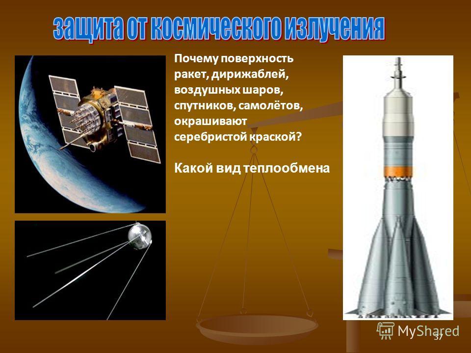 37 Почему поверхность ракет, дирижаблей, воздушных шаров, спутников, самолётов, окрашивают серебристой краской? Какой вид теплообмена