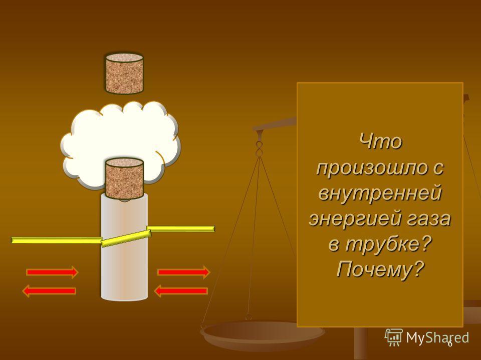Что произошло с внутренней энергией газа в трубке? Почему? 6
