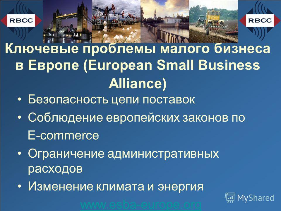 Ключевые проблемы малого бизнеса в Европе (European Small Business Alliance) Безопасность цепи поставок Соблюдение европейских законов по E-commerce Ограничение административных расходов Изменение климата и энергия www.esba-europe.org