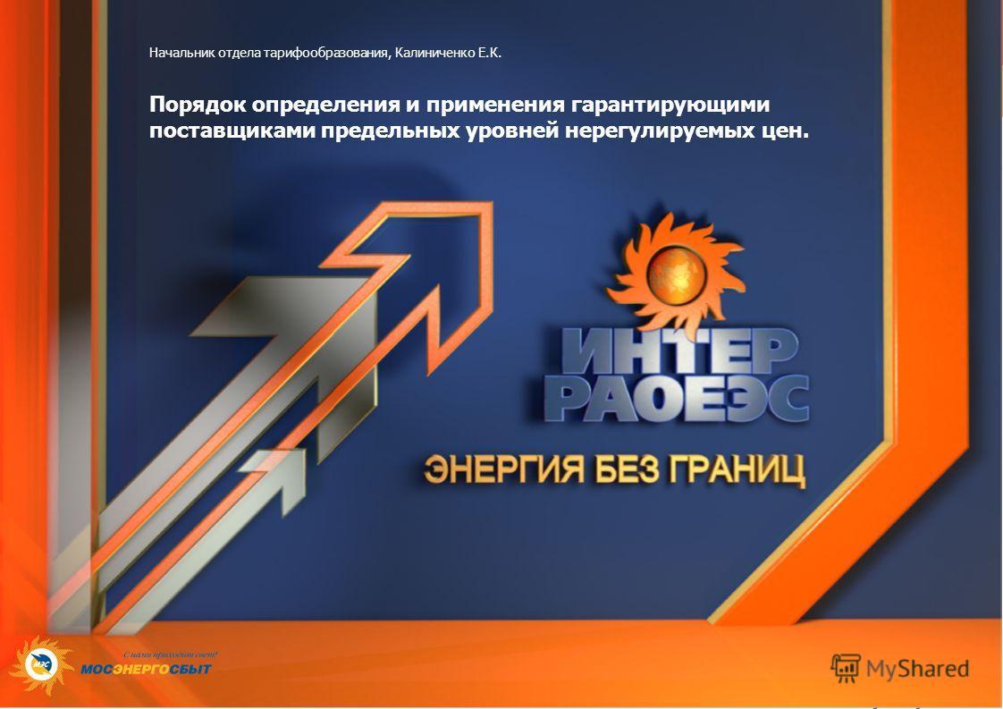 Начальник отдела тарифообразования, Калиниченко Е.К. Порядок определения и применения гарантирующими поставщиками предельных уровней нерегулируемых цен.