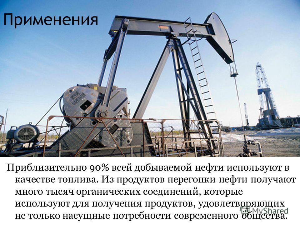 Применения Приблизительно 90% всей добываемой нефти используют в качестве топлива. Из продуктов перегонки нефти получают много тысяч органических соединений, которые используют для получения продуктов, удовлетворяющих не только насущные потребности с