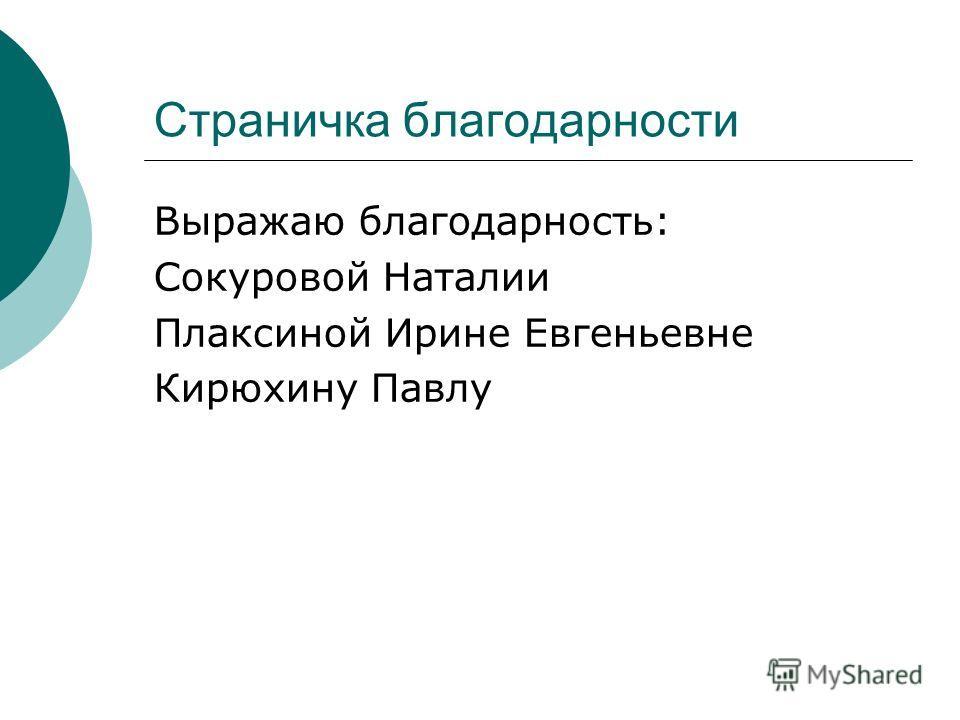 Страничка благодарности Выражаю благодарность: Сокуровой Наталии Плаксиной Ирине Евгеньевне Кирюхину Павлу