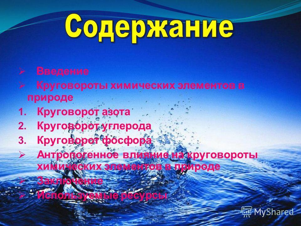Введение Круговороты химических элементов в природе 1. Круговорот азота 2. Круговорот углерода 3. Круговорот фосфора Антропогенное влияние на круговороты химических элементов в природе Заключение Используемые ресурсы
