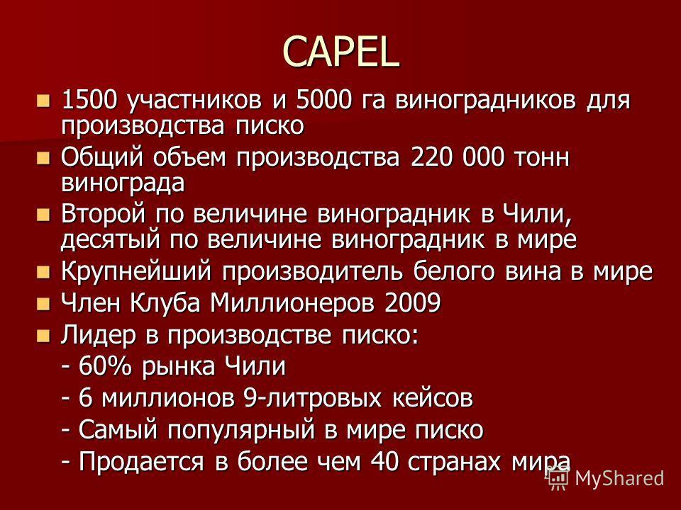 CAPEL 1500 участников и 5000 га виноградников для производства писко 1500 участников и 5000 га виноградников для производства писко Общий объем производства 220 000 тонн винограда Общий объем производства 220 000 тонн винограда Второй по величине вин