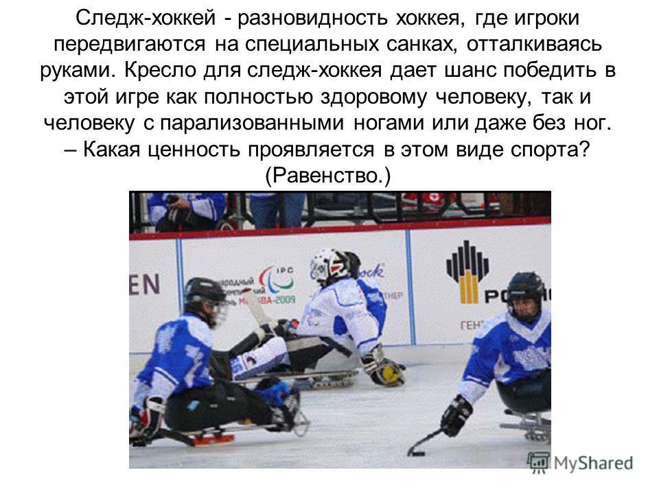 Следж-хоккей - разновидность хоккея, где игроки передвигаются на специальных санках, отталкиваясь руками. Кресло для следж-хоккея дает шанс победить в этой игре как полностью здоровому человеку, так и человеку с парализованными ногами или даже без но