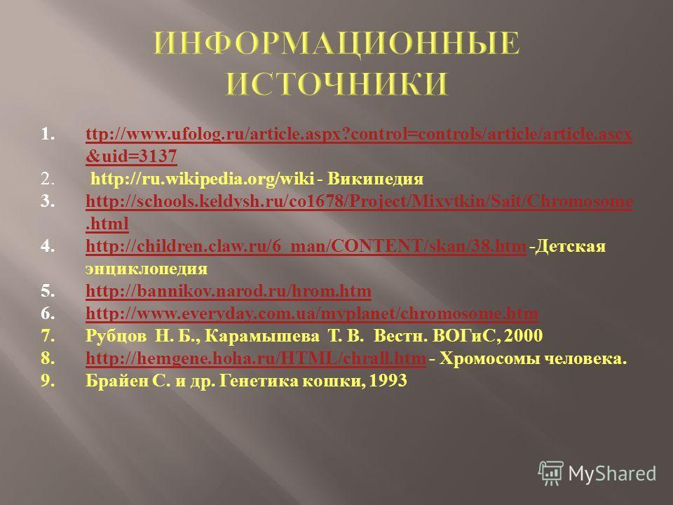 1.ttp :// www. ufolog. ru / article. aspx ? control = controls / article / article. ascx & uid =3137ttp :// www. ufolog. ru / article. aspx ? control = controls / article / article. ascx & uid =3137 2. http://ru.wikipedia.org/wiki - Википедия 3. http