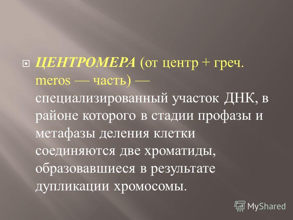 ЦЕНТРОМЕРА ( от центр + греч. meros часть ) специализированный участок ДНК, в районе которого в стадии профазы и метафазы деления клетки соединяются две хроматиды, образовавшиеся в результате дупликации хромосомы.