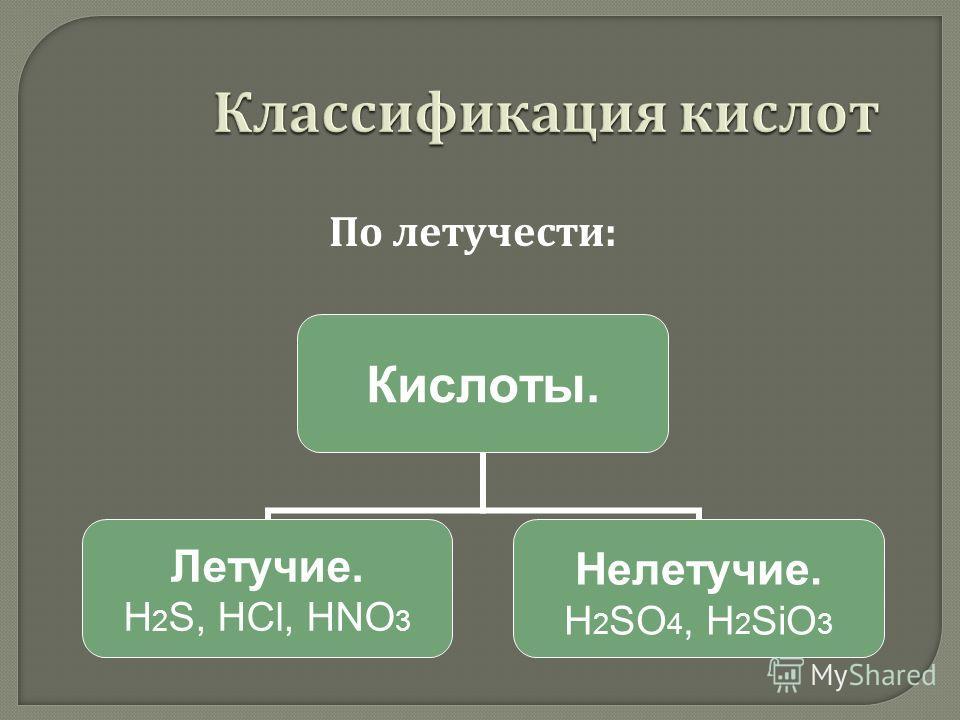 Кислоты. Летучие. H2S, HCl, HNO3 Нелетучие. H2SO4, H2SiO3 По летучести :