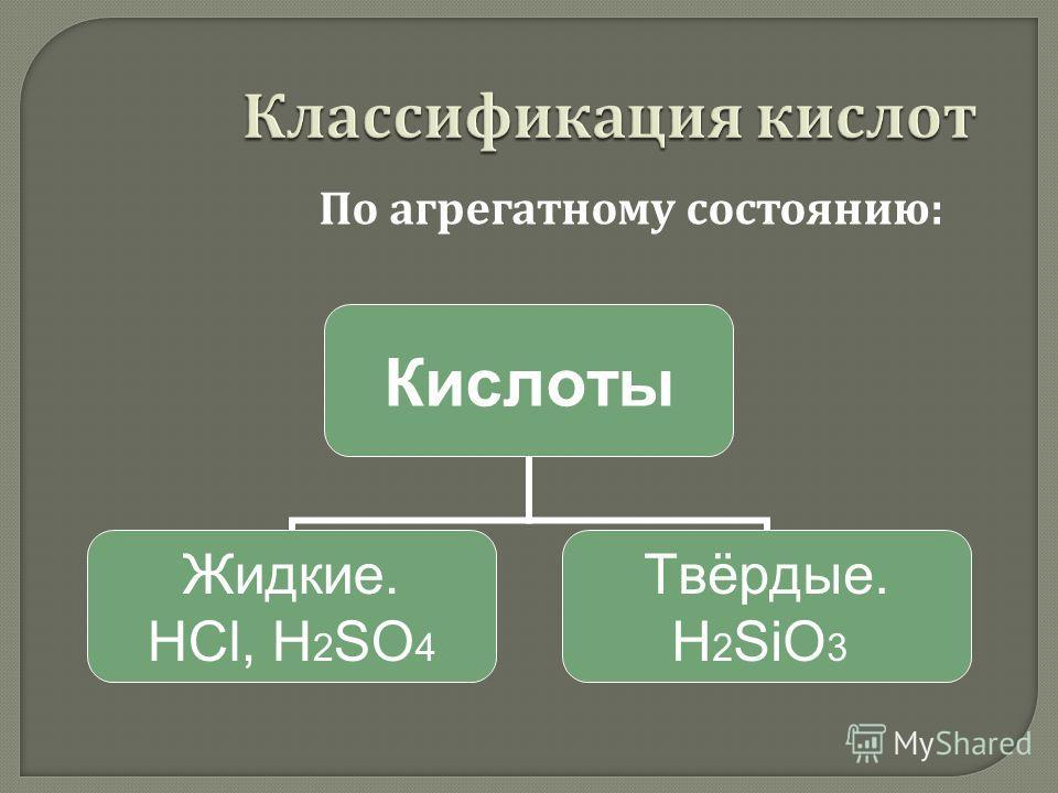 Кислоты Жидкие. НСl, H2SO4 Твёрдые. H2SiO3 По агрегатному состоянию :