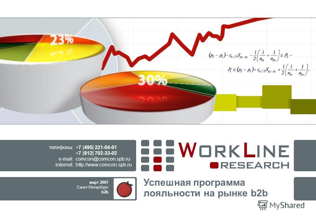 Успешная программа лояльности на рынке b2b +7 |495| 221-04-01 +7 |812| 702-33-02 comcon@comcon.spb.ru http://www.comcon.spb.ru телефоны: e-mail: internet: март 2007 Санкт-Петербург b2b
