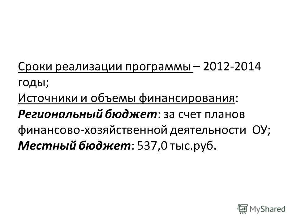 Сроки реализации программы – 2012-2014 годы; Источники и объемы финансирования: Региональный бюджет: за счет планов финансово-хозяйственной деятельности ОУ; Местный бюджет: 537,0 тыс.руб.