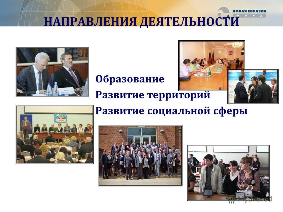 НАПРАВЛЕНИЯ ДЕЯТЕЛЬНОСТИ Образование Развитие территорий Развитие социальной сферы