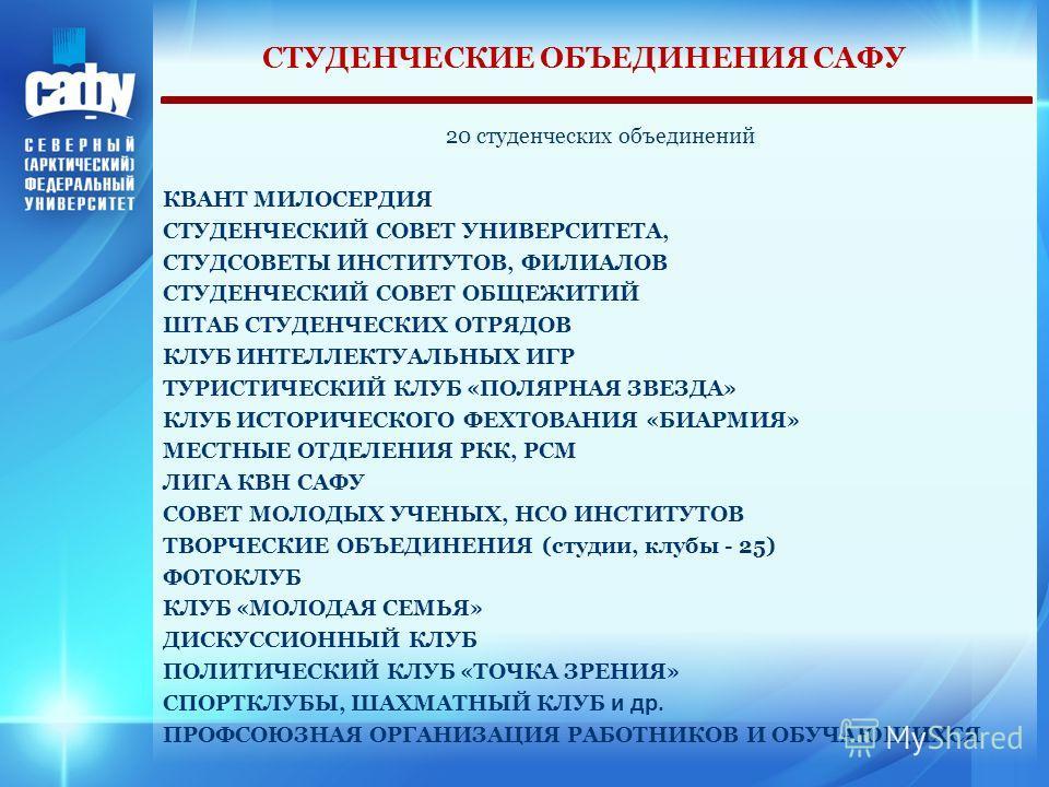 СТУДЕНЧЕСКИЕ ОБЪЕДИНЕНИЯ САФУ 20 студенческих объединений КВАНТ МИЛОСЕРДИЯ СТУДЕНЧЕСКИЙ СОВЕТ УНИВЕРСИТЕТА, СТУДСОВЕТЫ ИНСТИТУТОВ, ФИЛИАЛОВ СТУДЕНЧЕСКИЙ СОВЕТ ОБЩЕЖИТИЙ ШТАБ СТУДЕНЧЕСКИХ ОТРЯДОВ КЛУБ ИНТЕЛЛЕКТУАЛЬНЫХ ИГР ТУРИСТИЧЕСКИЙ КЛУБ «ПОЛЯРНАЯ