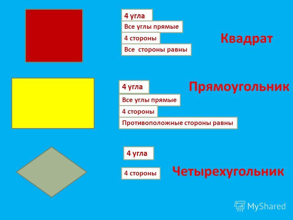 4 угла Все углы прямые 4 стороны Противоположные стороны равны 4 угла Все углы прямые 4 стороны Все стороны равны 4 угла 4 стороны Квадрат Прямоугольник Четырехугольник