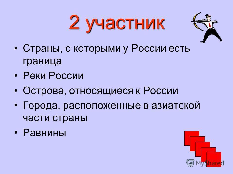 2 участник Страны, с которыми у России есть граница Реки России Острова, относящиеся к России Города, расположенные в азиатской части страны Равнины