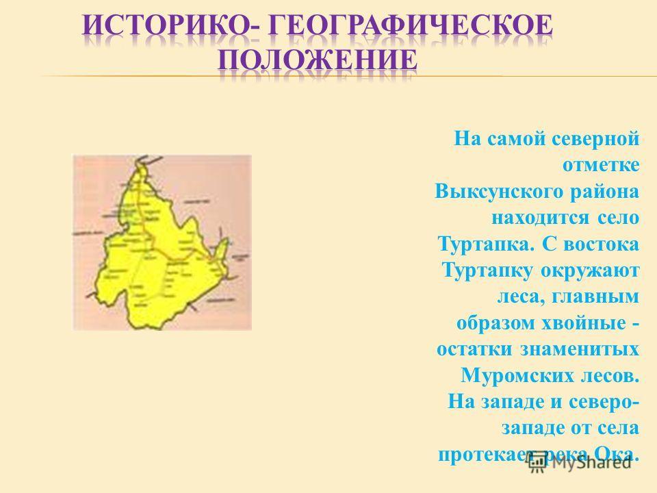На самой северной отметке Выксунского района находится село Туртапка. С востока Туртапку окружают леса, главным образом хвойные - остатки знаменитых Муромских лесов. На западе и северо- западе от села протекает река Ока.
