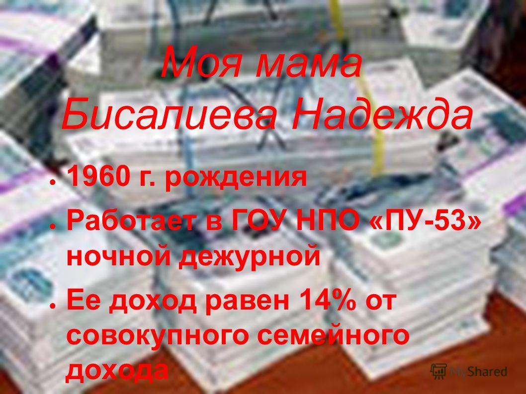Моя мама Бисалиева Надежда 1960 г. рождения Работает в ГОУ НПО «ПУ-53» ночной дежурной Ее доход равен 14% от совокупного семейного дохода