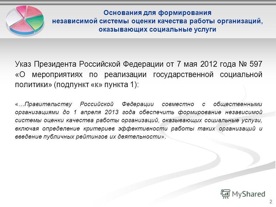 Указ Президента Российской Федерации от 7 мая 2012 года 597 «О мероприятиях по реализации государственной социальной политики» (подпункт «к» пункта 1): «…Правительству Российской Федерации совместно с общественными организациями до 1 апреля 2013 года