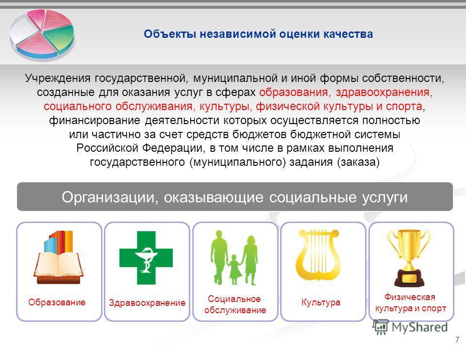 Учреждения государственной, муниципальной и иной формы собственности, созданные для оказания услуг в сферах образования, здравоохранения, социального обслуживания, культуры, физической культуры и спорта, финансирование деятельности которых осуществля
