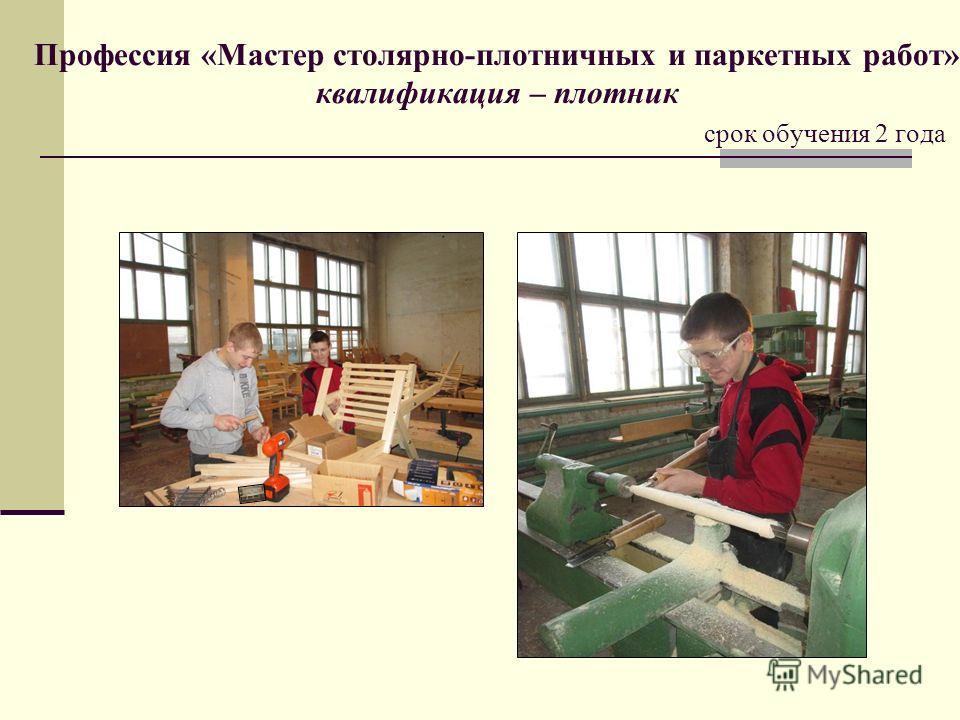 Профессия «Мастер столярно-плотничных и паркетных работ» квалификация – плотник срок обучения 2 года