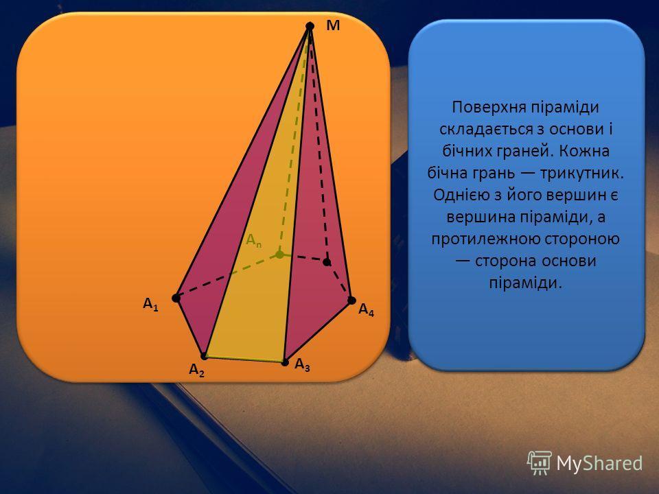 А2А2 А1А1 А4А4 А3А3 АnАn М Піраміда багатогранник, який складається з плоского багатокутника і точки (яка не лежить у площині основи) та всіх відрізків, що сполучають вершину піраміди з точками основи. Відрізки, що сполучають вершину піраміди з верши