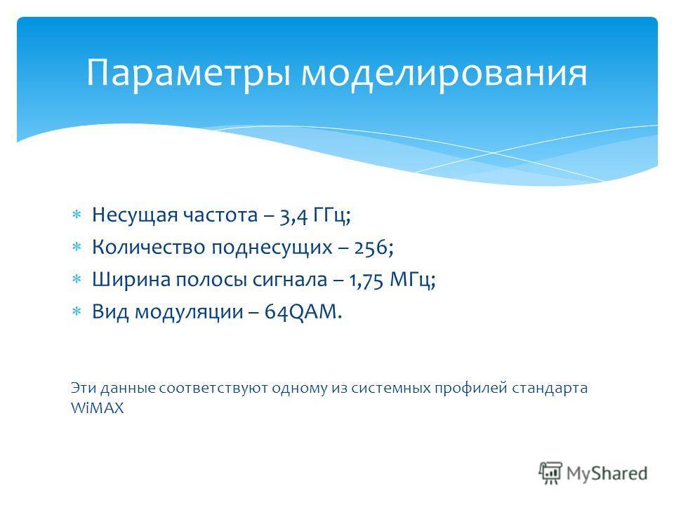 Несущая частота – 3,4 ГГц; Количество поднесущих – 256; Ширина полосы сигнала – 1,75 МГц; Вид модуляции – 64QAM. Эти данные соответствуют одному из системных профилей стандарта WiMAX Параметры моделирования