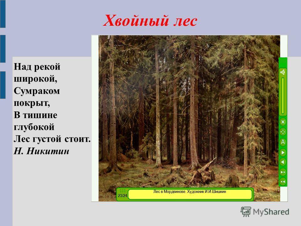 Хвойный лес Над рекой широкой, Сумраком покрыт, В тишине глубокой Лес густой стоит. Н. Никитин