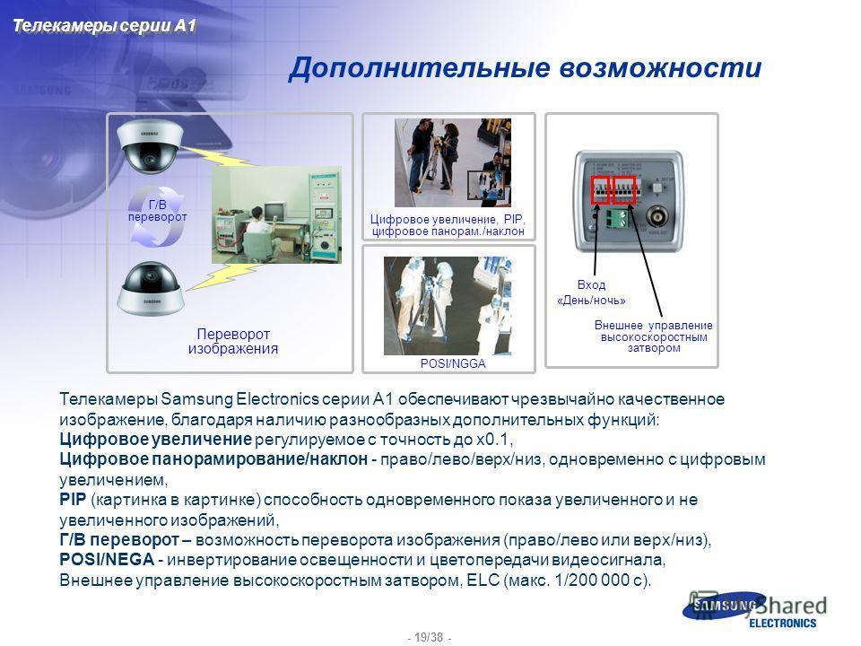 - 19/38 - Дополнительные возможности Телекамеры Samsung Electronics серии A1 обеспечивают чрезвычайно качественное изображение, благодаря наличию разнообразных дополнительных функций: Цифровое увеличение регулируемое с точность до x0.1, Цифровое пано