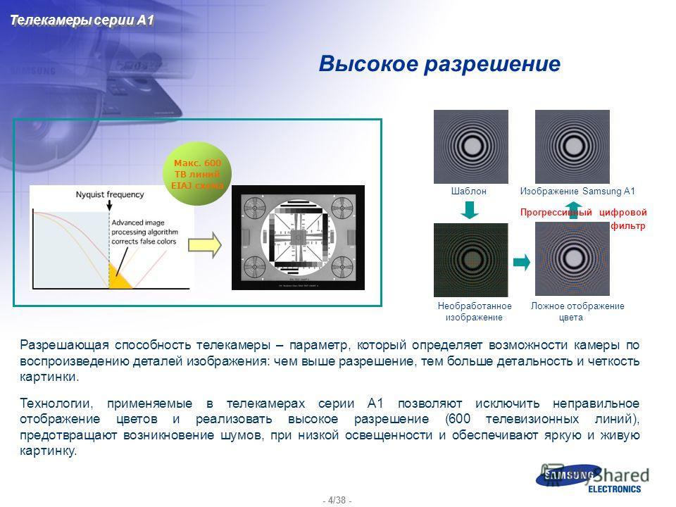 - 4/38 - Высокое разрешение Макс. 600 ТВ линий EIAJ схема Разрешающая способность телекамеры – параметр, который определяет возможности камеры по воспроизведению деталей изображения: чем выше разрешение, тем больше детальность и четкость картинки. Те
