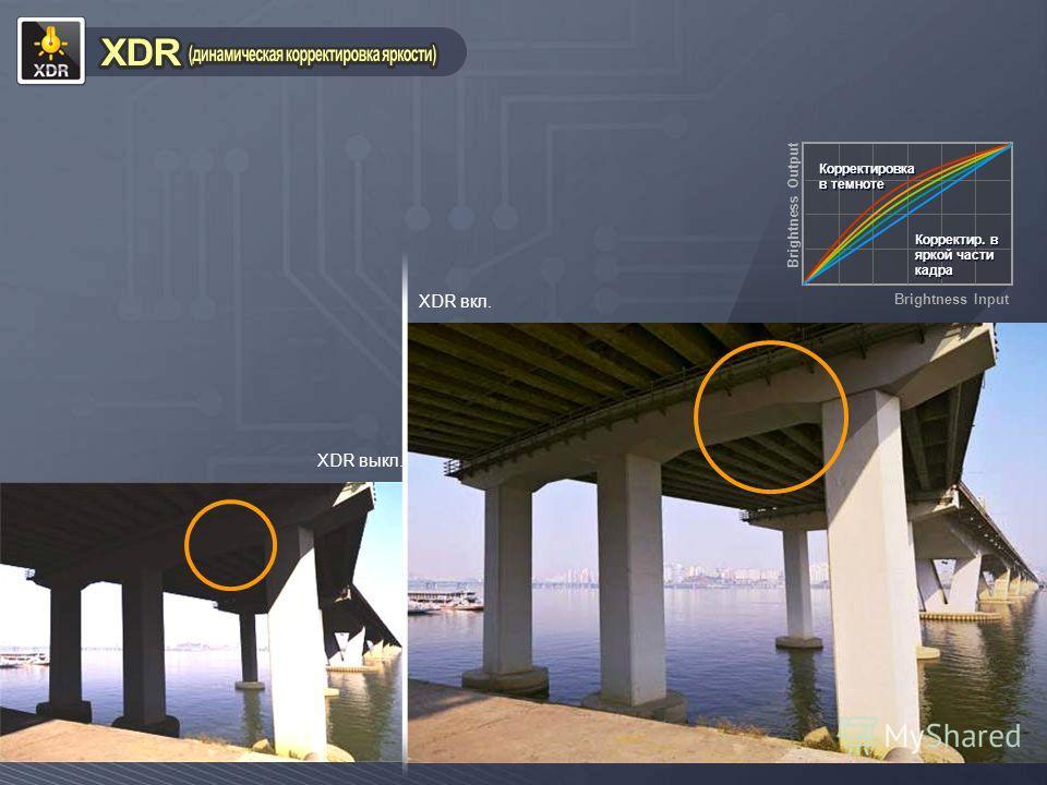XDR вкл. XDR выкл. Корректировка в темноте Корректировка в темноте Корректир. в яркой части кадра Корректир. в яркой части кадра Brightness Input Brightness Output