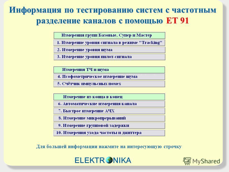 Информация по тестированию систем с частотным разделение каналов с помощьюET 91 Информация по тестированию систем с частотным разделение каналов с помощью ET 91 Для большей информации нажмите на интересующую строчку ELEKTR NIKA