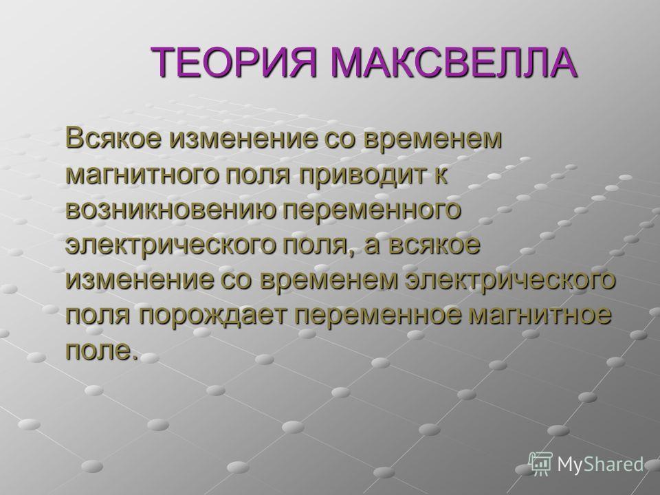 ТЕОРИЯ МАКСВЕЛЛА Всякое изменение со временем магнитного поля приводит к возникновению переменного электрического поля, а всякое изменение со временем электрического поля порождает переменное магнитное поле.