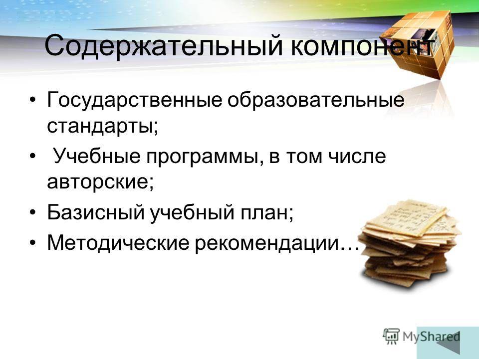 Содержательный компонент Государственные образовательные стандарты; Учебные программы, в том числе авторские; Базисный учебный план; Методические рекомендации…