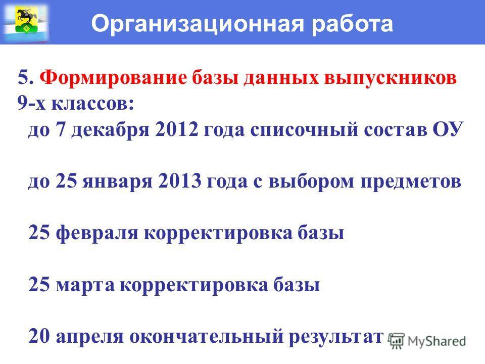 Организационная работа 5. Формирование базы данных выпускников 9-х классов: до 7 декабря 2012 года списочный состав ОУ до 25 января 2013 года с выбором предметов 25 февраля корректировка базы 25 марта корректировка базы 20 апреля окончательный резуль