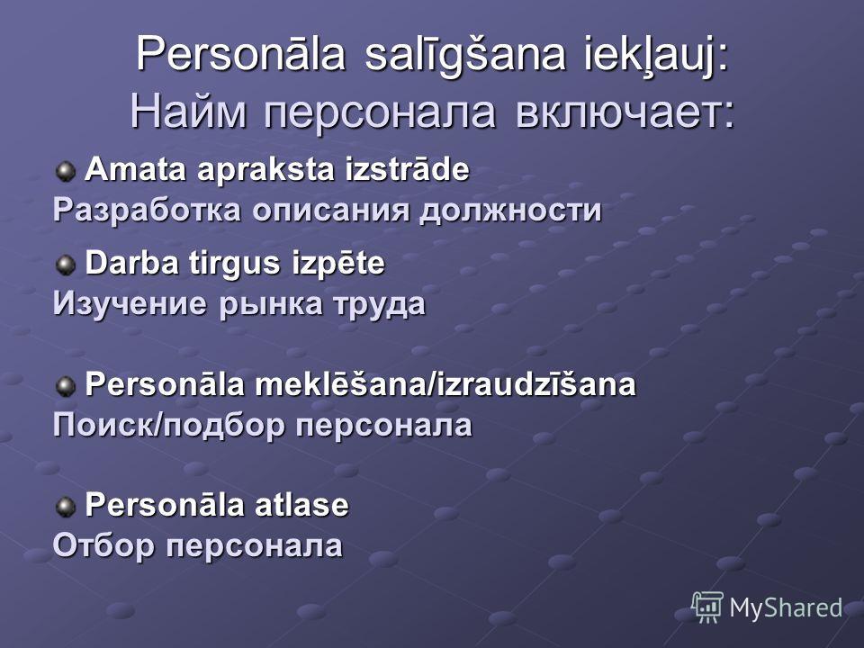 Personāla salīgšana iekļauj: Найм персонала включает: Amata apraksta izstrāde Разработка описания должности Darba tirgus izpēte Изучение рынка труда Personāla meklēšana/izraudzīšana Поиск/подбор персонала Personāla atlase Отбор персонала
