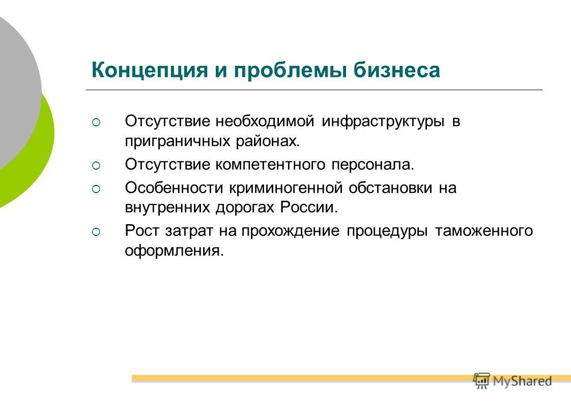 Концепция и проблемы бизнеса Отсутствие необходимой инфраструктуры в приграничных районах. Отсутствие компетентного персонала. Особенности криминогенной обстановки на внутренних дорогах России. Рост затрат на прохождение процедуры таможенного оформле