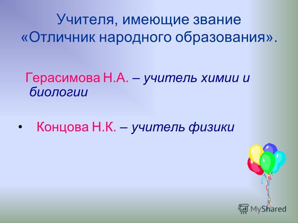 Учителя, имеющие звание «Отличник народного образования». Герасимова Н.А. – учитель химии и биологии Концова Н.К. – учитель физики