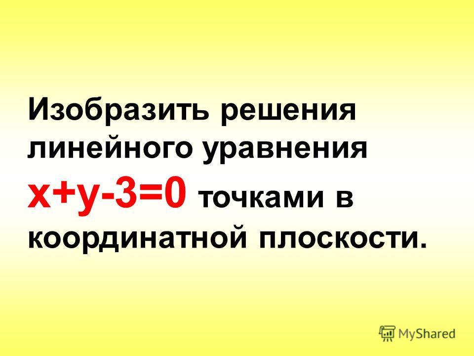 Изобразить решения линейного уравнения х+у-3=0 точками в координатной плоскости.