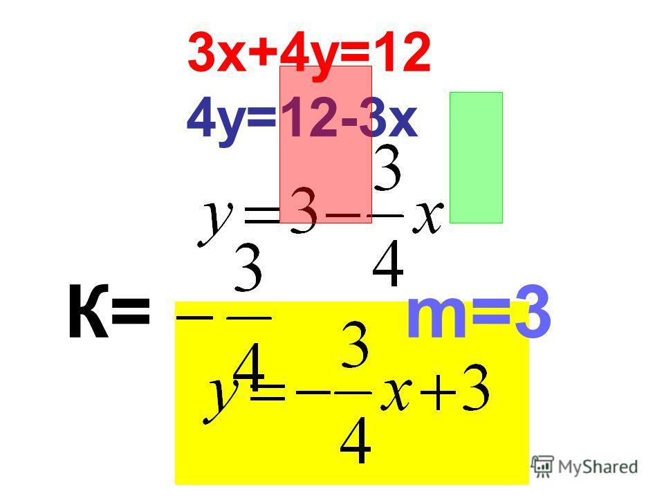 3х+4у=12 4у=12-3х К= m=3