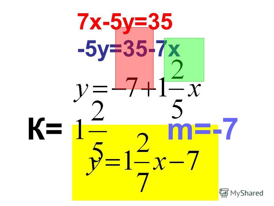7х-5у=35 -5у=35-7х К= m=-7