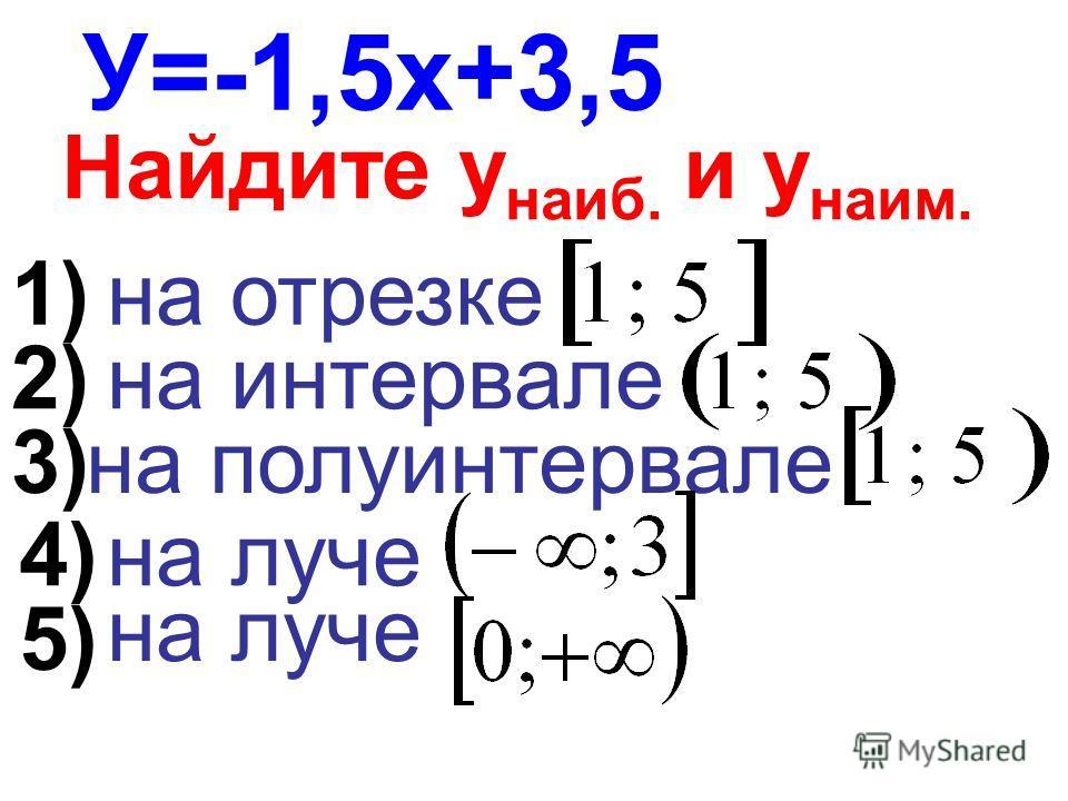 У=-1,5х+3,5 Найдите у наиб. и у наим. на отрезке на интервале на полуинтервале на луче 1) 2) 3) 4) 5)